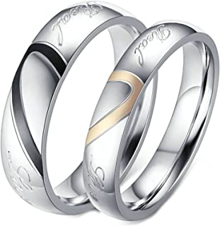 ANAZOZ 2PCS Ring Set Stainless Steel Real Love Engraved Engagement Bands His and Her Set