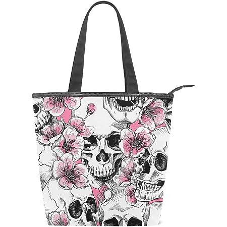 Jeansame Canvas Tote Bag Frauen Shopper Top Griff Taschen Schulter Handtaschen mit Reißverschluss Totenköpfe Halloween Blumen Herbst Herbst