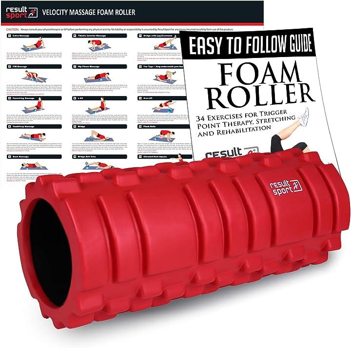 Massaggio foamroller-rullo in schiuma-automassaggio muscolare a rilascio miofasciale resultsport trigger point VTR-RED