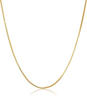 Yellow Gold Plated Sterling Silver Thin 0.6mm Box Chain Necklace