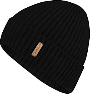 Tina Maud Warm Winter Knit Hat Wool Cuffed Beanie Hats with Lining Skull Cap for Men and Women Unisex