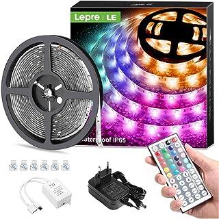 Lepro LED Strip 5M, LED Streifen Lichterkette mit Fernbedienung, Band Lichter Wasserdicht IP65, RGB Dimmbar Lichtleiste Li...