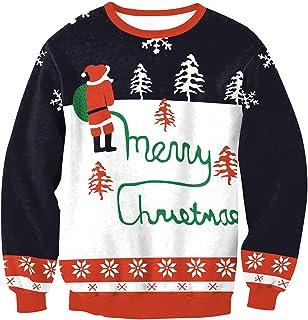 PLUSFILE Unisex Ugly Christmas Sweatshirt 8D Digital Printed Funny Shirt Long Sleeve Pullover Sweater shirt