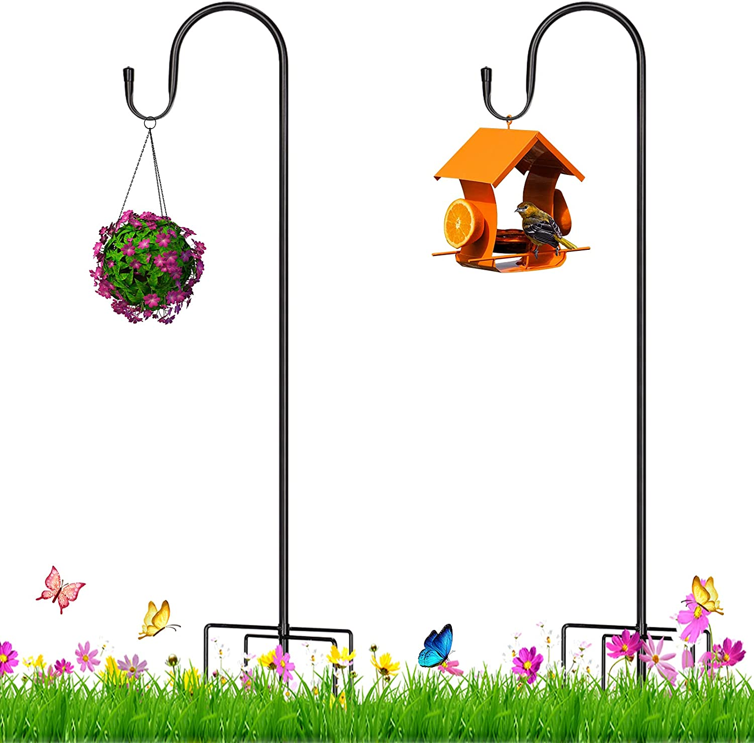 SHAWLAM Outdoor Shepherd Hooks and 5 Prong Base 78 Inch Tall,5/8 Inch Thick Adjustable Heavy Duty Garden Hanging Stand Holder (2 Packs),for Bird Feeders Solar Lights Plant Hangers Wedding Decorations