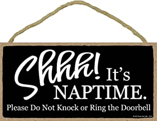 Honey Dew Gifts Door Signs, Shhh It's Nap Time Please Do Not Knock or Ring The Door Bell - 5 x 10 inch Hanging Baby Sleeping Sign for Front Door