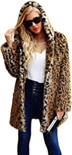 Womens Ladies Winter Mid Long Length Leopard Faux Fur Hooded Parka Jacket Coat Outerwear