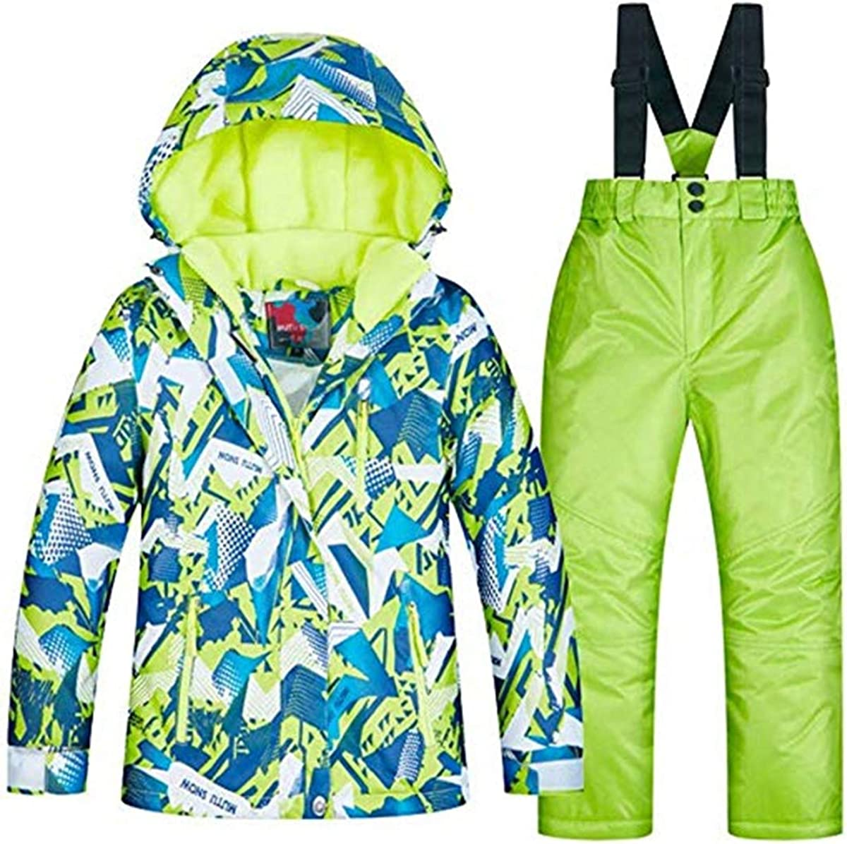 Baby Boys Kids Sport Outdoor Mountain Waterproof Windproof Snowboarding Jackets and Snow Ski Bib Pants Insulated Snowsuit Set