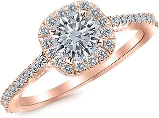 1.01 Carat Gorgeous Classic Cushion Halo Style Diamond Engagement Ring 14K White Gold with a 0.63 Carat I-J I2 Round Brilliant Cut/Shape Center