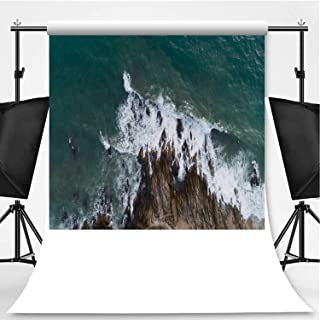 Aerial View Drone Shot of Seascape Scenic Off Beach in Phuket Thailand with Wave Crashing on The Rocks Photography Backdrop,006135 for Video Photography,Pictorial Cloth:6x10ft