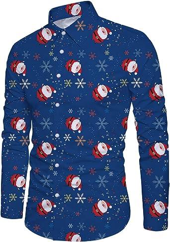 Goodstoworld Camisas de Navidad para hombre feas camisas de Navidad con estampado de elfo de manga larga con botones para fiesta de Navidad M-XXL