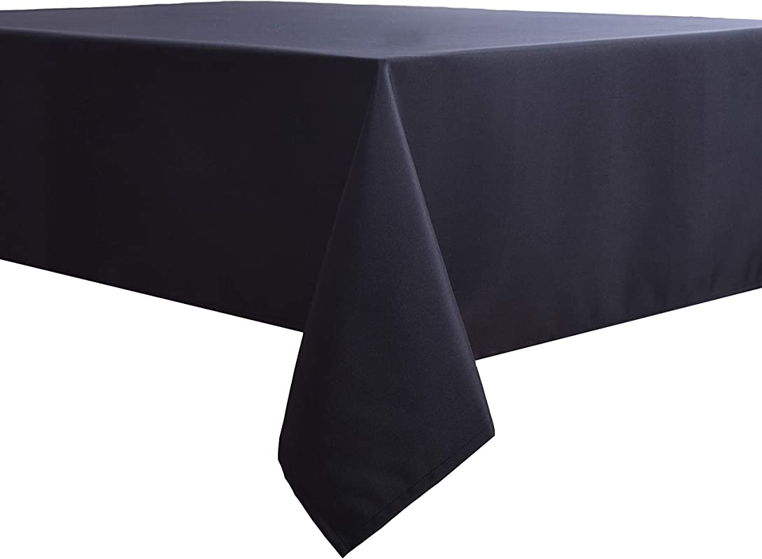 Biscaynebay Fabric Table Cloth Water Resistant Spill Proof Tablecloths For Dining Kitchen And Parties Black 70 By 70 Inches Square