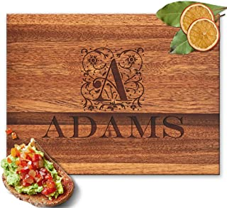 Froolu Floral Decorative personalized cutting board for Monogram Name & Initial Christmas Gifts