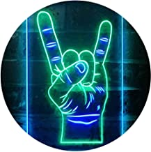 """ADVPRO Rock n Roll Hand Heavy Metal Horn Band Dual Color LED Neon Sign Green & Blue 16"""" x 24"""" st6s46-i2948-gb"""