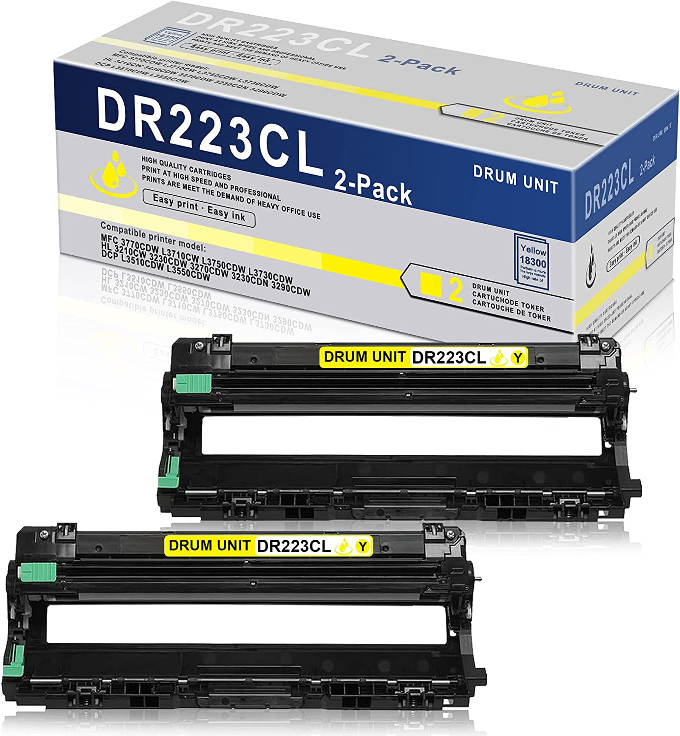 2 Pack Yellow Compatible High Yield Drum Unit DR223CL DR-223CL Replacement for Brother MFC 3770CDW L3710CW L3750CDW L3730CDW HL 3210CW 3270CDW 3230CDN 3290CDW DCP L3510CDW L3550CDW Printer Drum Unit