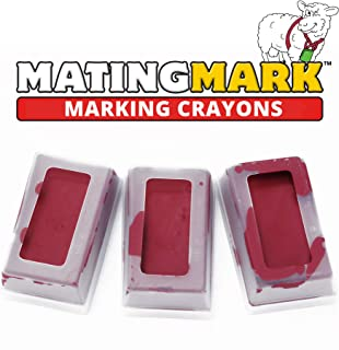 MATINGMARK Sheep & Goat Mating Crayon Block Marker for Ram Breeding/Marking Harness by Rurtec, 3 Pack (MILD Temperature) RED, Made in New Zealand