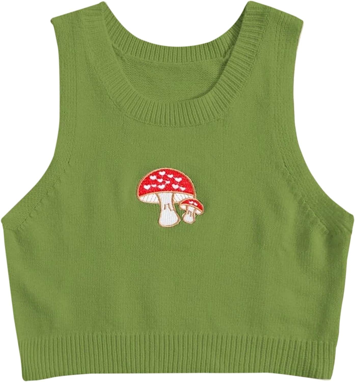 Meladyan Women Y2K Mushroom Embroidery Knitted Sleeveless Crop Sweater Vest Cute Round Neck 90s Girls Knitwear Tank Top