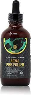 RAW Forest Foods - Pine Pollen Tincture Extract (4 Ounce) - Supports Immune System Health, Boosts Hormonal Balance, Packed with Amino Acids and Androgenic Herbal Benefits, Great for Hair and Skin Care