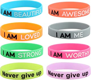 8PCS Motivational Silicone Wristbands Rubber Band Bracelets Assorted Colors Jewelry Gifts Inspirational Bracelets