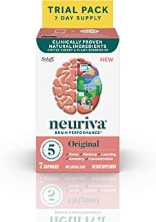 Brain Support Supplement - Neuriva Original (7 count in a bottle), Helps Support 5 Indicators Of Brain Performance: Focus,...