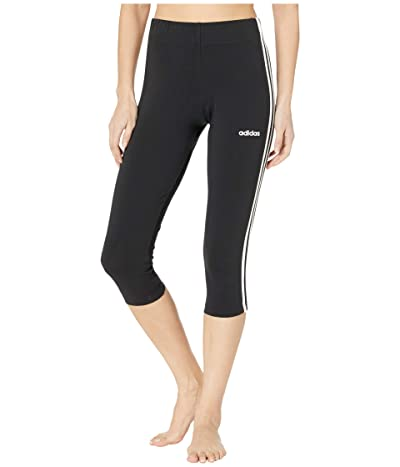 adidas Essential 3-Stripe 3/4 Tights (Black/White) Women