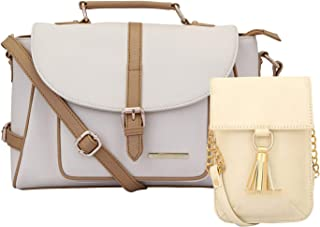 Lapis O Lupo Combo Blanche Women Handbag and Mobile Sling Bag (Off White,Off White) Multi-functional pocket design