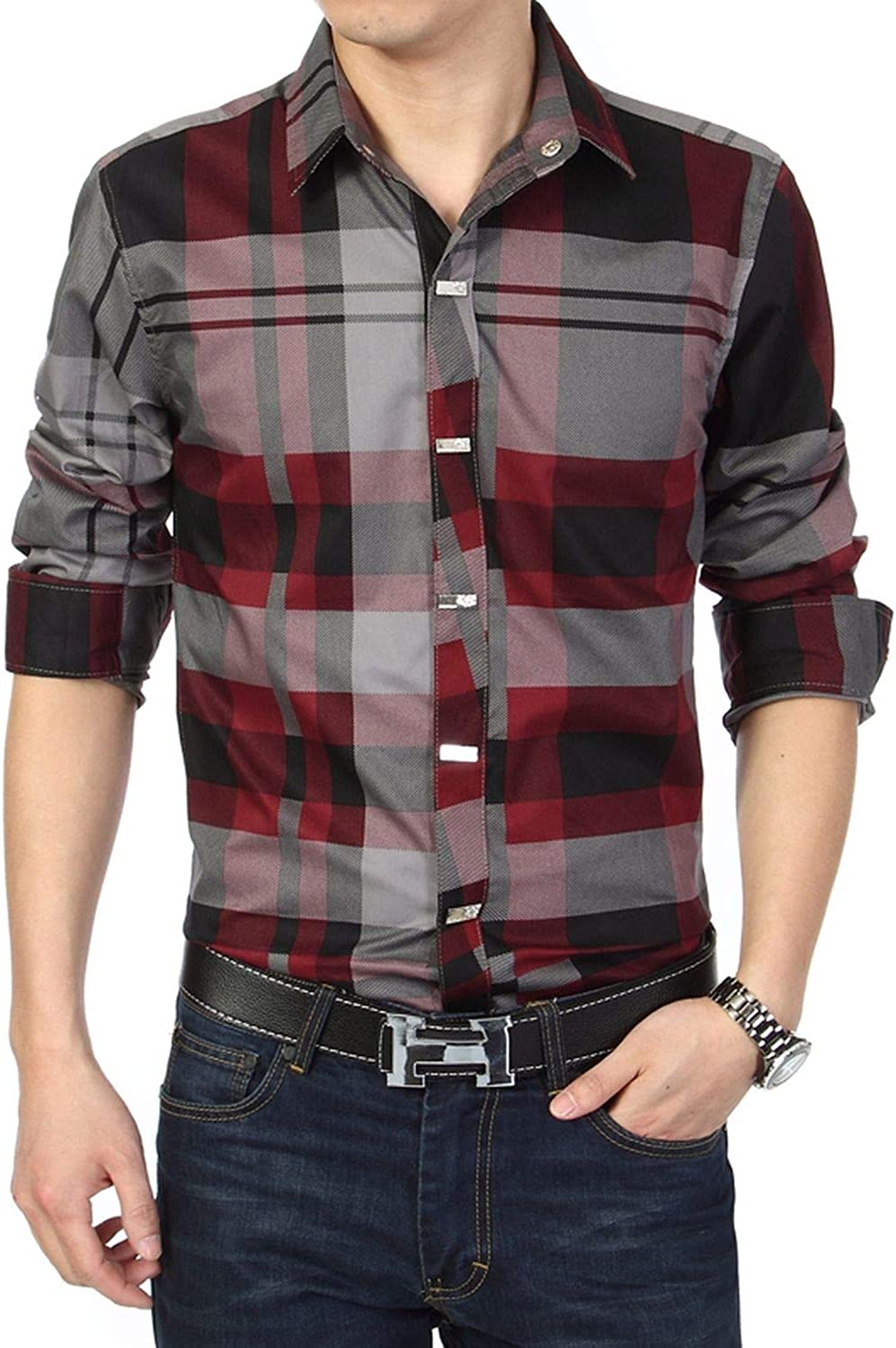 - I'm good at you Plus Size Men Men Men Plaid Dress Shirts Slim Fit Casual Mens Shirts Long Sleeves Mens Shirts c3af6b