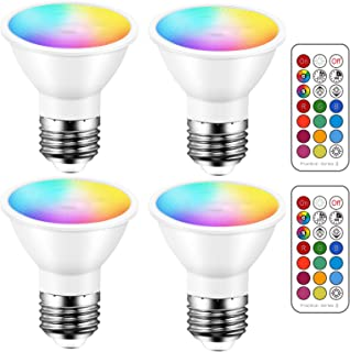 Best LED Light Bulbs 40 Watt Equivalent Color Changing E26 Screw 45°, 12 Colors Dimmable Warm White 2700K RGB LED Spot Light Bulb with 5W Remote Control,(Pack of 4) Review