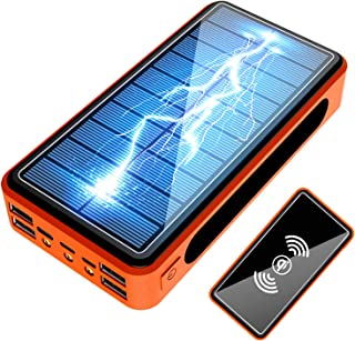 Solar Power Bank 500000mah, Solar Charger (Charges 5 Devices), 10W Wireless Phone Charger, Solar Battery Charger, Solar Po...
