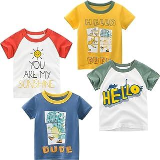 TABNIX Toddler Little Boys' T-Shirts 1/4 Pack Bear Short Sleeve Crewneck Top Tee Size 2-7 Years