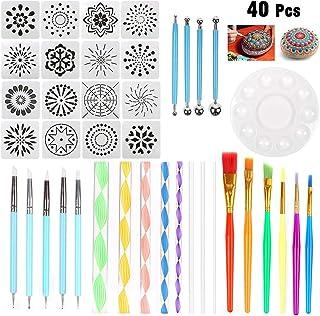 Malen Dotting-Tools Schablone Mandala-Malwerkzeug-Kits Pinsel-Set zum Malen von Felsen Zeichnen und Zeichnen siehe abbildung Joyfan Mandala-Dotting-Werkzeuge 35 St/ück