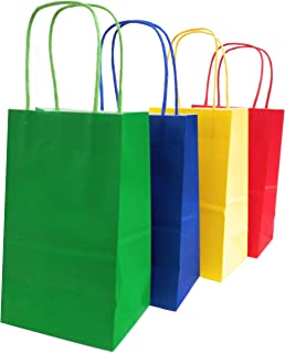 Kelkaa Party Kraft Bags 24pcs 5.25x3.5x8.5 Inches, Paper Bags with Handles for Birthday, Wedding Party Favors, Bachelorette Party,Tote Bag, Party Themes, Assorted Red, Yellow, Green, Royal Blue(Small)