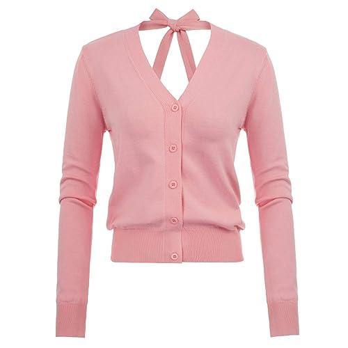 Kate Kasin Women s V-Neck Bow-Knot Button Down Knitwears Soft Cardigan  Sweater ddcd29b2d