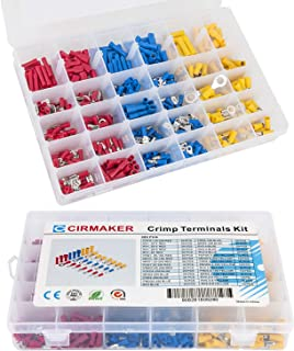 Cirmaker 480 Pcs Wire Terminal Crimp Connectors Assortment Kit, Insulated Electrical Wire Connectors Kit, Crimp Terminals Connectors Spade Ring Butt Terminals