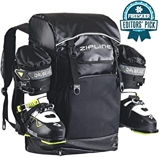 Zipline World Cup Ski Boot Bag Backpack – Waterproof Skiing and Snowboarding Travel Luggage – Stores Gear Including Jacket, Helmet, Goggles, Gloves & Accessories - 2019 Model