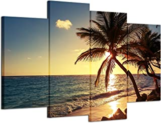 iHAPPYWALL Sunset Beach Palm Tree Multi Panel Seascape Giclee Canvas Prints on Canvas Wall Art Modern Stretched and Framed Pictures Paintings Artwork for Home Decor
