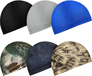 Sponsored Ad - Boao 6 Pieces Cycling Skull Caps Running Sweat Wicking Hats Helmet Liner for Women and Men