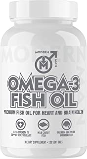 Omega 3 Fish Oil Pills for Men - Ultimate Triple Strength Burpless Omega-3 Capsules for Heart, Brain & Joint Support - Hig...