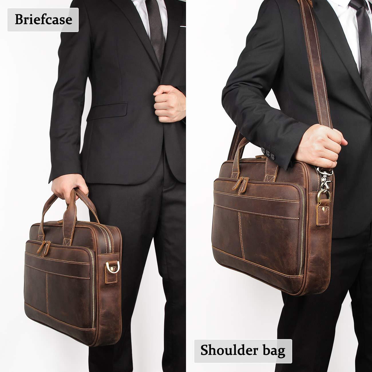 Leather Messenger Bag for Men Vintage Travel Backpack 17 inch laptop Briefcase Shoulder Bags