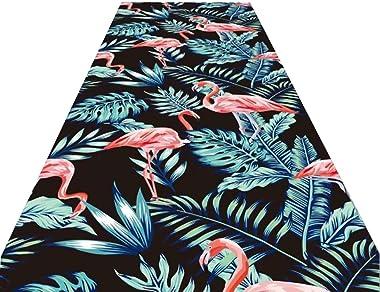 LQQ Alfombras de Pasillo Flamingo Pattern Runner Alfombra Antideslizante Lavable, Alfombrilla de Entrada Absorbente para Baño