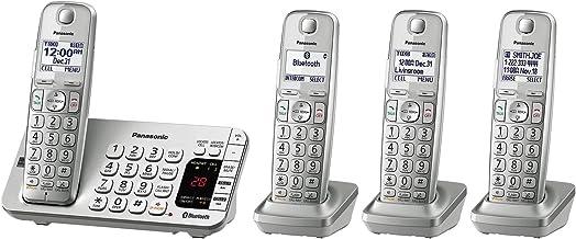 تلفن PANASONIC Link2Cell بلوتوث بی سیم DECT 6.0 با دستگاه پاسخگو و کاهش نویز پیشرفته - 4 گوشی - KX-TGE474S (نقره ای)