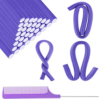 40 Pieces Foam Hair Curler Flexible Curling Rods No Heat Curls Sleeping Soft Hair Styling Sponge with 1 Pointed Tail Comb for Short and Medium Hair (7, PURPLE)