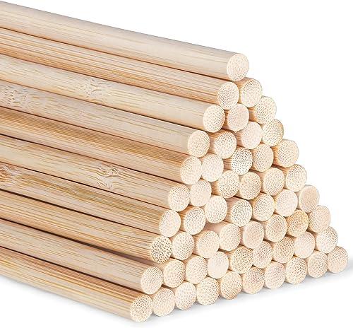 Lot de 55 Tiges longues en bambou pour loisirs créatifs, 30cm 5mm / 0.20inch woods