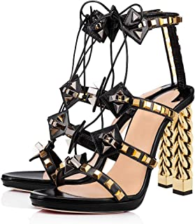 FSJ Women Gold Metal Chain Thick High Heel Sandals Open Toe Strappy Ankle Buckle Strap Slingback Comfy Summer Dress Pumps Size 4-15 US