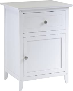Winsome Wood Night Stand/Accent Table with Drawer and Cabinet for Storage, White (Renewed)