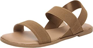 Women's Wide Width Flat Sandals - Open Toe Elastic Ankle Strap Casual Summer Shoes.