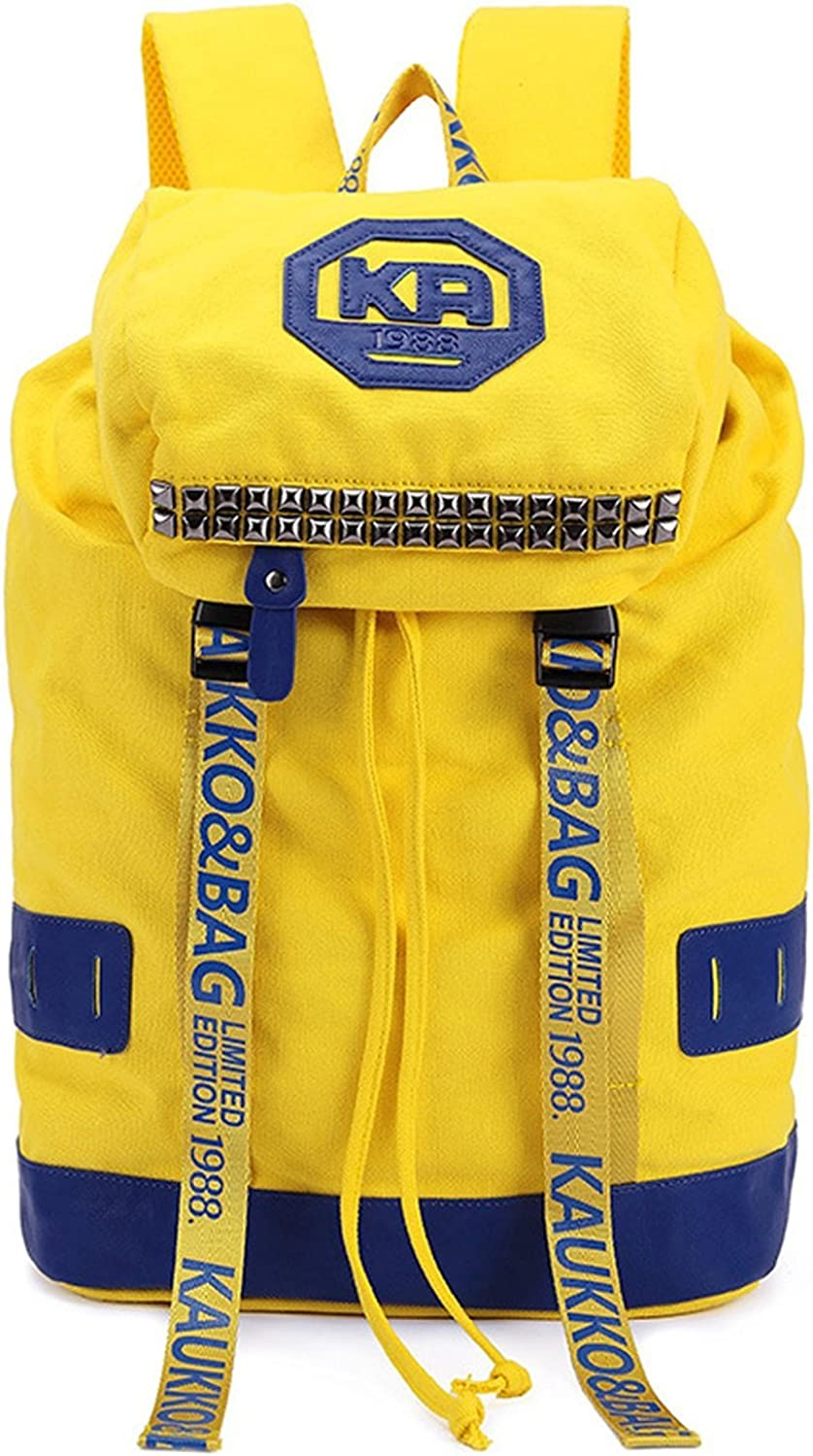 Colnsky Women's And Men's Backpack School Bag Travel Bag Yellow Canvas New Style