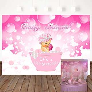Mehofoto Baby Shower Photography Backdrops Baby Girl Bath Background 7x5ft Pink Bubble Bathtub Vinyl Backdrop Photo Party Banner Background for Newborn