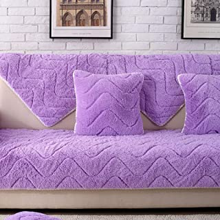SVIO-SOFACOVER Reversible Couch Slipcover Furniture Protector,Purple Slip Cover Throw for Pets,Dogs,Cats Non Slip Faux Fur Sofa Cover One Piece,43