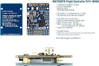 Matek System F411-WING Flight Controller w/Built-in OSD, 3.3V/5V BEC, Current Senor for RC Plane Fixed Wing FPV Aircraft Glider Sailplane Airplane