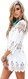 white crochet swim cover up